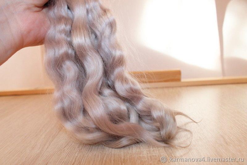 Волосы для кукол (серебро) Локоны Кудри для кукол Кудри для кукол купить Волосы для кукол купить Handmade Ярмарка Мастеров Puppenhaar Mohair doll hair Doll hair Blythe hair Reborn hair Pukipuki