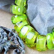 Украшения ручной работы. Ярмарка Мастеров - ручная работа Неспелые лимоны - браслет лэмпворк на кожаном шнуре. Handmade.