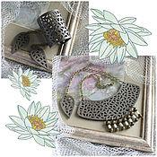 Украшения handmade. Livemaster - original item Jewelry sets: Leather necklace and leather bracelet Pistachio openwork. Handmade.