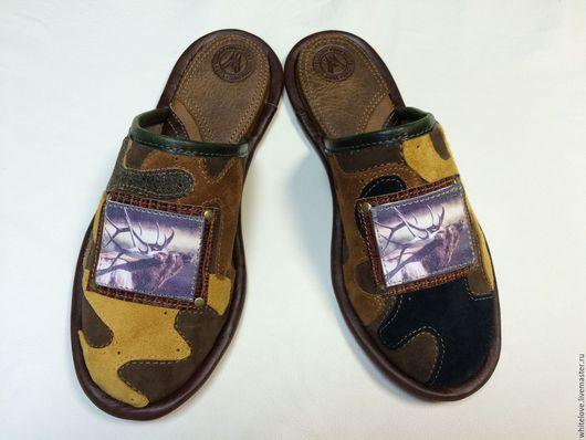 """Обувь ручной работы. Ярмарка Мастеров - ручная работа. Купить Кожаные тапочки """" Охота- camo"""". Handmade. Разноцветный"""