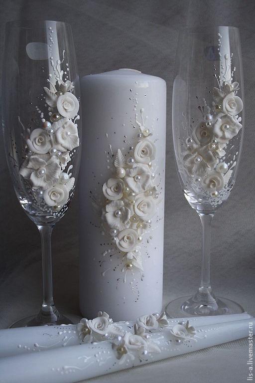 Свадебные аксессуары ручной работы. Ярмарка Мастеров - ручная работа. Купить свадебный набор. Handmade. Белый, бокалы для свадьбы, пластика