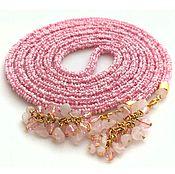 Украшения handmade. Livemaster - original item Lariat beaded with rose quartz. Handmade.