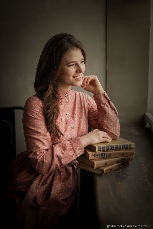Розово-пудровое платье в цветочек, тёплое платье на пуговицах спереди, Платья, Томск,  Фото №1