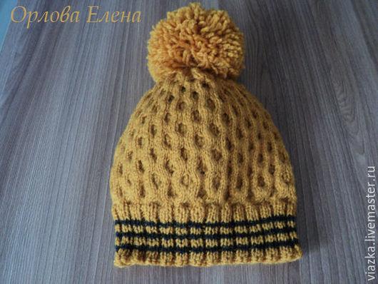 Шапка вязаная с помпоном, шапка с рельефным узором, шапка с аранами, ручная работа, Елена Орлова