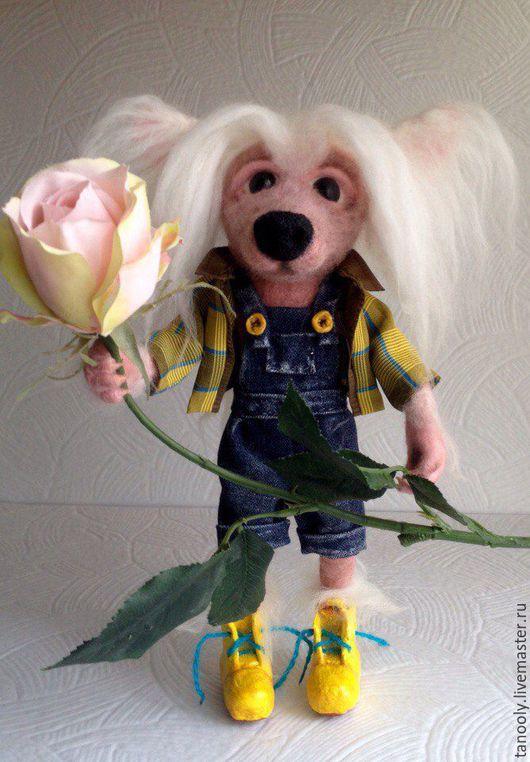 Коллекционные куклы ручной работы. Ярмарка Мастеров - ручная работа. Купить Пёсик хохлатый). Handmade. Комбинированный, собака игрушка
