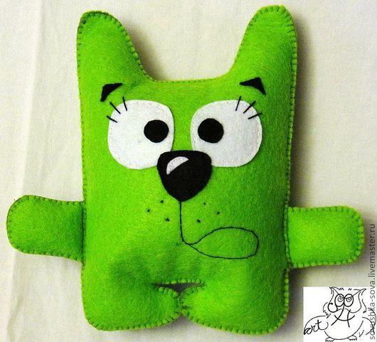 """Игрушки животные, ручной работы. Ярмарка Мастеров - ручная работа. Купить Котик """"Эээээ...."""". Handmade. Ярко-зелёный, игрушка"""