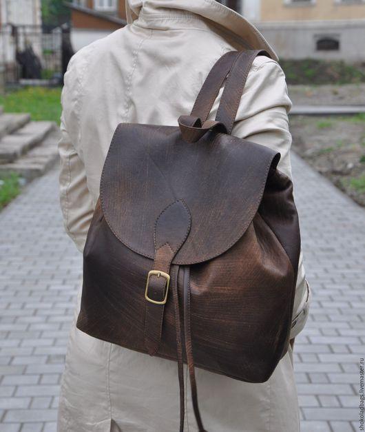 """Рюкзаки ручной работы. Ярмарка Мастеров - ручная работа. Купить Кожаный рюкзак - """" Сафари. Потертый шик"""". Handmade."""