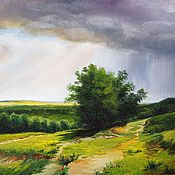 Картины и панно handmade. Livemaster - original item Oil painting peisaj Rain _ an original work. Handmade.