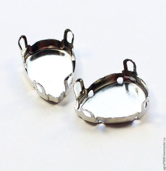 Для украшений ручной работы. Ярмарка Мастеров - ручная работа. Купить Оправы 18х13 мм сеттинги для кристаллов Капля цвет серебро. Handmade.