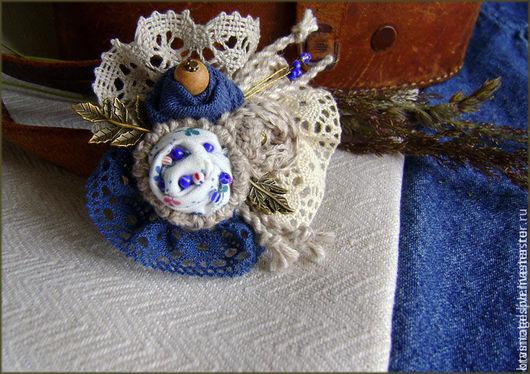 """Броши ручной работы. Ярмарка Мастеров - ручная работа. Купить Брошь синяя """"Немного вестерн"""", брошь-цветок,  джинс. Handmade."""