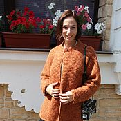 """Одежда ручной работы. Ярмарка Мастеров - ручная работа Кардиган вязаный """"Графство Гэмпшир"""", рыжий цвет.. Handmade."""