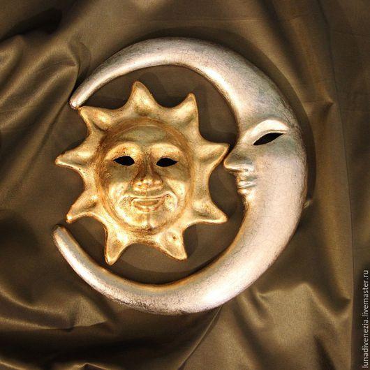 Интерьерные  маски ручной работы. Ярмарка Мастеров - ручная работа. Купить Панно интерьерное Солнце и Луна. Handmade. Золотой, поталь