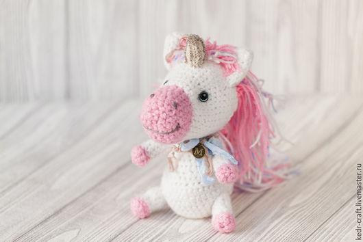 Игрушки животные, ручной работы. Ярмарка Мастеров - ручная работа. Купить розовый единорог Марибель, белая вязаная мягкая игрушка. Handmade.