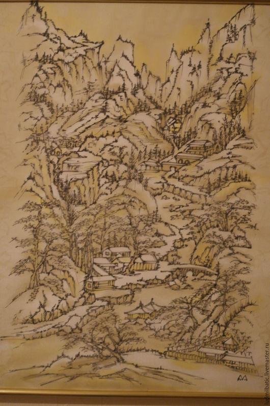Этно ручной работы. Ярмарка Мастеров - ручная работа. Купить Утро в горах. Handmade. Золотой, графика, шёлк