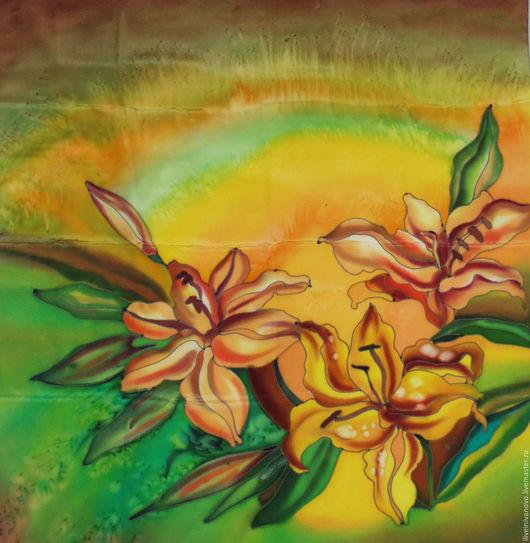 """Шали, палантины ручной работы. Ярмарка Мастеров - ручная работа. Купить Платок- батик """" Осенние цветы"""". Handmade. Желтый"""