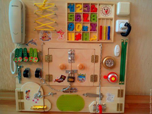 Развивающие игрушки ручной работы. Ярмарка Мастеров - ручная работа. Купить Бизиборд - 20 развивашек. Handmade. Оранжевый, бизиборды