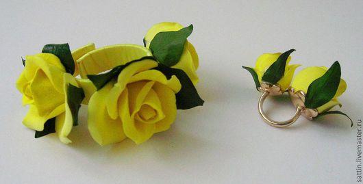 Комплекты украшений ручной работы. Ярмарка Мастеров - ручная работа. Купить Комплект с желтыми розами. Handmade. Желтый, комплект украшений