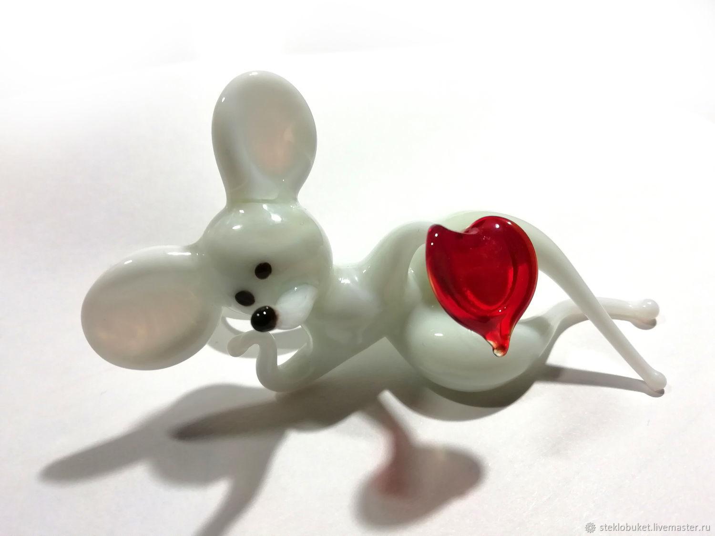 Loving rat of glass, white, Figurines, Penza,  Фото №1