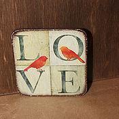 """Сувениры и подарки ручной работы. Ярмарка Мастеров - ручная работа Магнит на холодильник """"LOVE"""", деревянный магнит.. Handmade."""