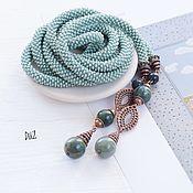 Украшения handmade. Livemaster - original item Lariat of beads agate moss. Handmade.