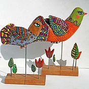 Для дома и интерьера ручной работы. Ярмарка Мастеров - ручная работа Над полями, над лесами птицы разные летают (интерьерное украшение). Handmade.