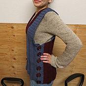 Одежда ручной работы. Ярмарка Мастеров - ручная работа Жилет вязанный двухцветный Япония ,46-48 размер,унисекс. Handmade.