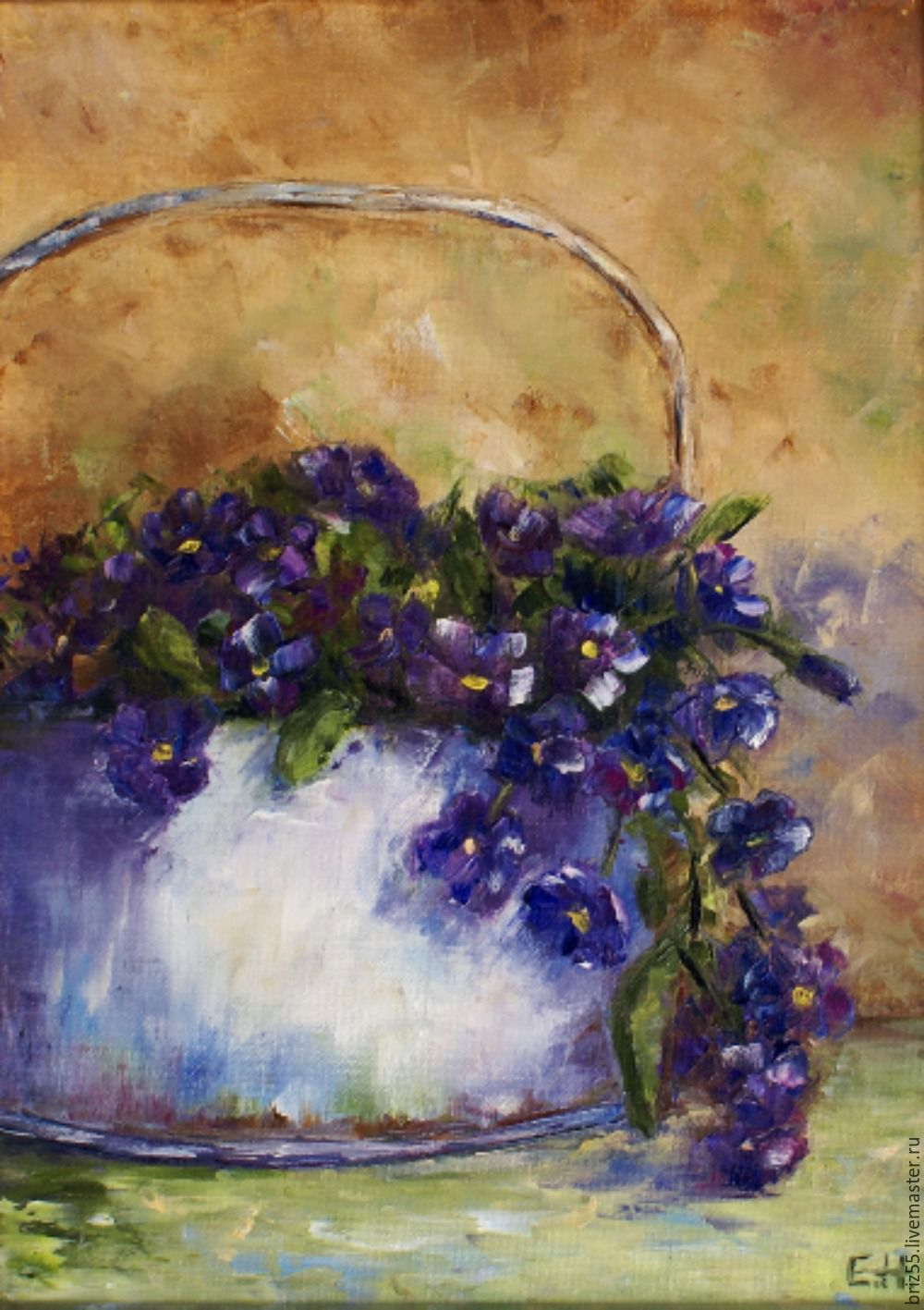 Oil painting of Violets, Pictures, Zelenograd,  Фото №1