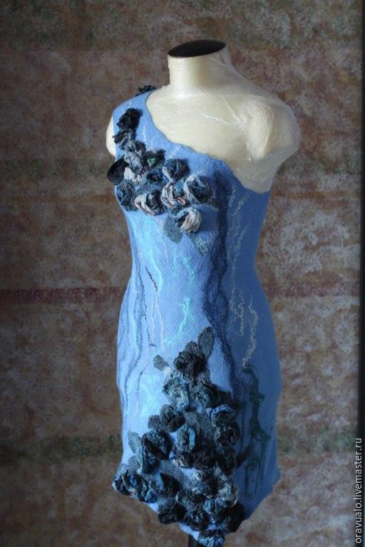 """Платья ручной работы. Ярмарка Мастеров - ручная работа. Купить Предлагайте свою цену! валяное платье """"Ледяные розы"""". Handmade."""