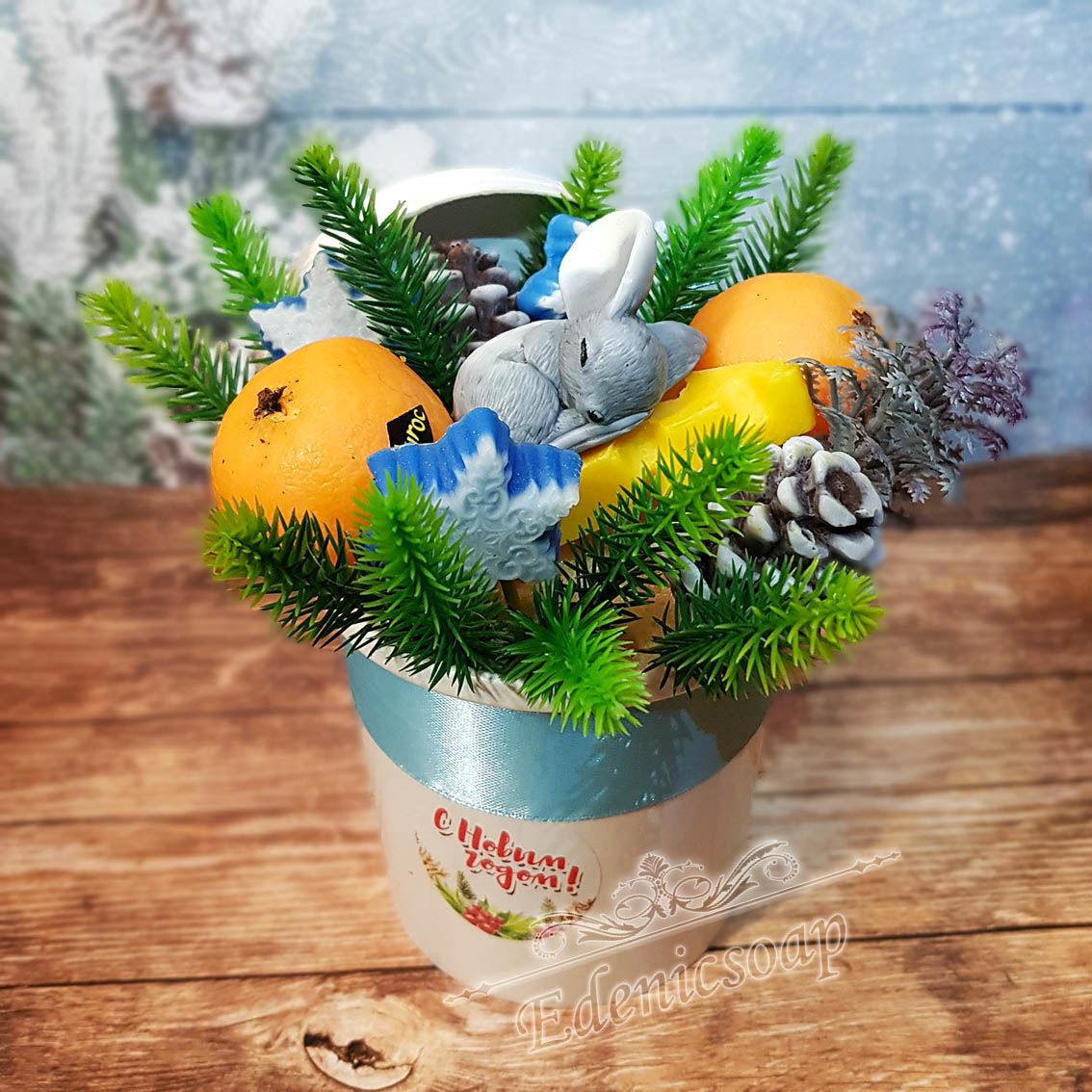 'New year in a Cup 'flowers' souvenir bouquet gift, Soap, Moscow,  Фото №1