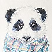 Картины и панно ручной работы. Ярмарка Мастеров - ручная работа Новинка! Панда на прогулке, акварельный принт. Handmade.
