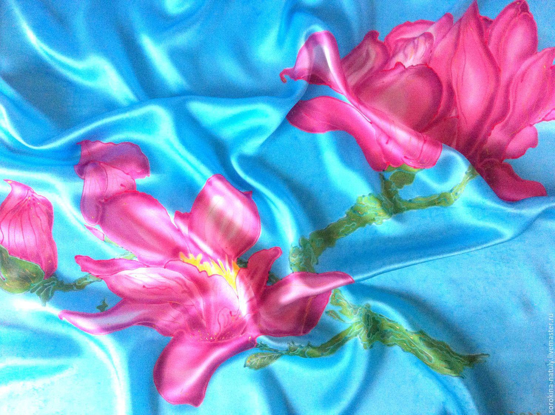 Batik shawl Morning Magnolia Sorokina Natalia shop silk Paradise Fair masters Handmade Painted Gift girl woman to Buy a gift Best offer silk shawl Scarf for women