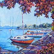 Картины и панно handmade. Livemaster - original item Oil painting on canvas sea boat berth, southern landscape. Handmade.