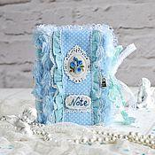Блокноты ручной работы. Ярмарка Мастеров - ручная работа Голубой романтичный блокнот ручной работы. Handmade.