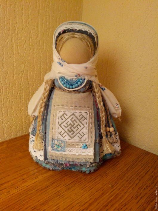 """Народные куклы ручной работы. Ярмарка Мастеров - ручная работа. Купить Кукла-оберег """"Цветок Папоротника"""". Handmade. Голубой, лён"""