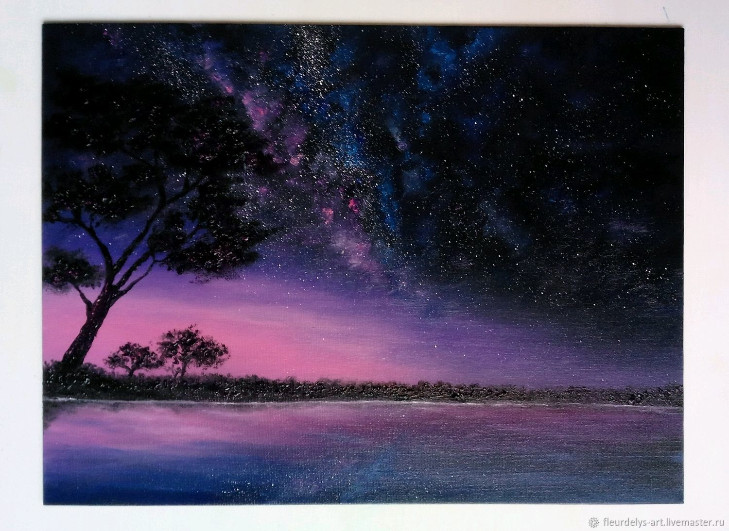 Starry night in Savannah. Fluorescent oil painting 30/40, Pictures, Armavir,  Фото №1