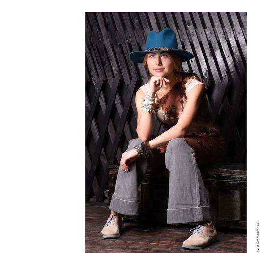 Шляпы ручной работы. Ярмарка Мастеров - ручная работа. Купить Широкополая шляпа Ласточка. Handmade. Морская волна, женская шляпа