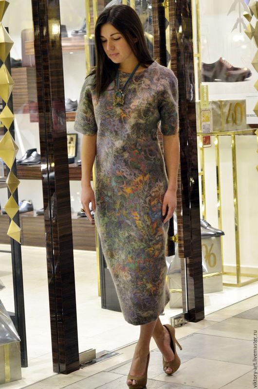 Платья ручной работы. Ярмарка Мастеров - ручная работа. Купить Платье из валяной шерсти и дизайнерского шелка. Handmade. Комбинированный, Валяние