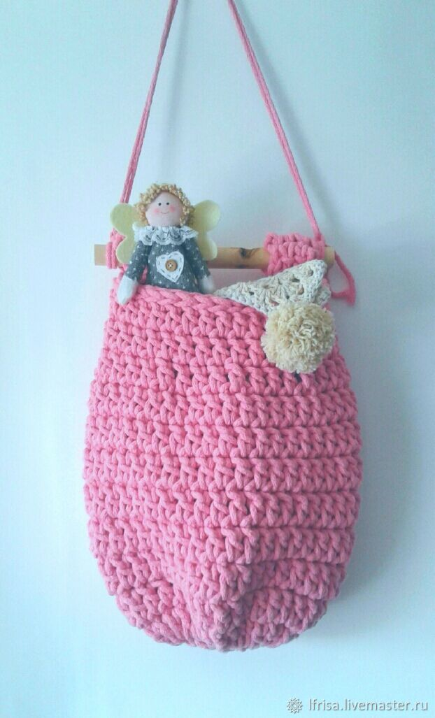 The basket is crocheted from a pink cord, Basket, Novosibirsk,  Фото №1