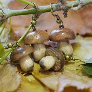 """Украшения ручной работы. Ярмарка Мастеров - ручная работа Серьги """"Осенние грибы"""". Handmade."""