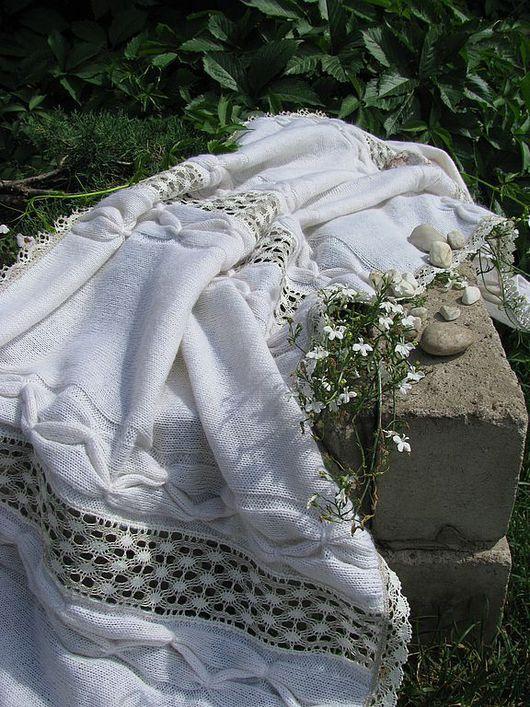 Текстиль, ковры ручной работы. Ярмарка Мастеров - ручная работа. Купить Вязанный плед Кружевной. Handmade. Вязаный плед