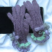 Аксессуары handmade. Livemaster - original item Women`s gloves with ruffles two color plum . A copy of the work. Handmade.