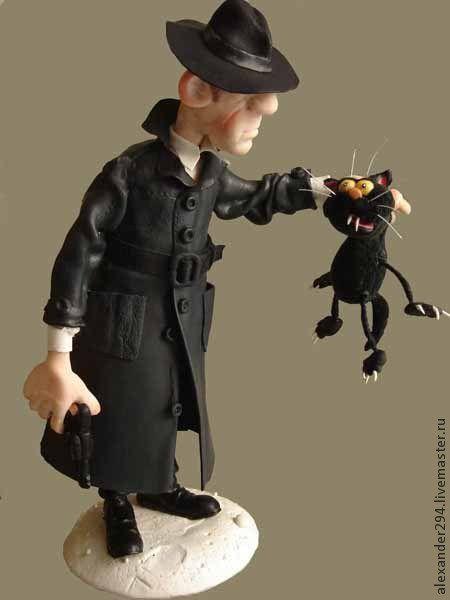 Коллекционные куклы ручной работы. Ярмарка Мастеров - ручная работа. Купить Черная кошка. Handmade. Чёрно-белый, укла, кот