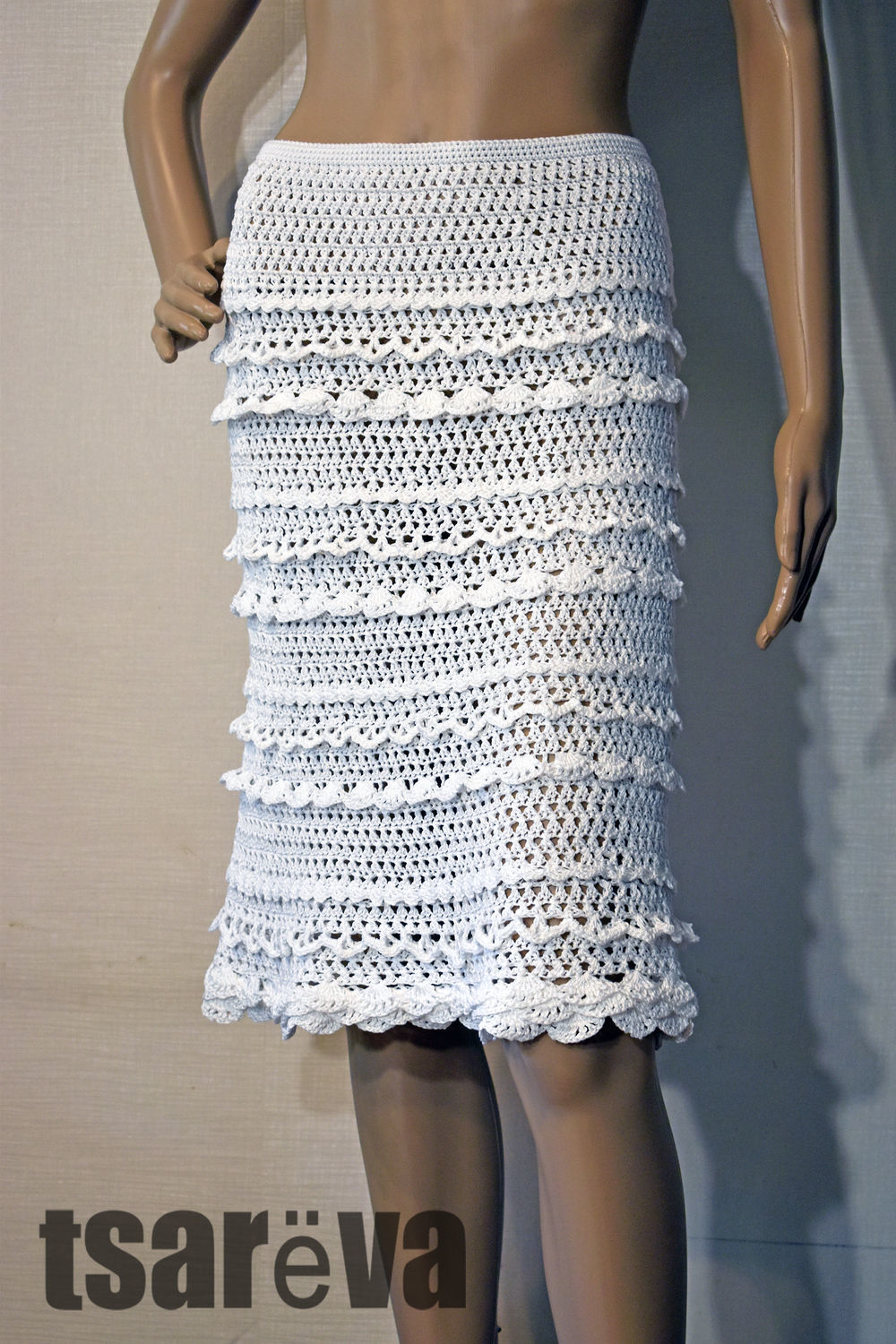 Knitted skirt with ruffle Dorothy. Hook, cotton, Skirts, Odessa,  Фото №1