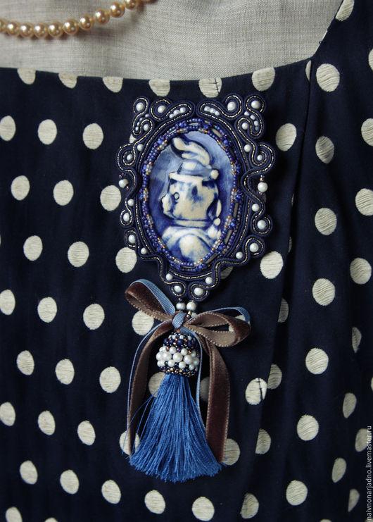 """Броши ручной работы. Ярмарка Мастеров - ручная работа. Купить Крупная брошь """"Котик-коток"""". Handmade. Тёмно-синий, голубой"""
