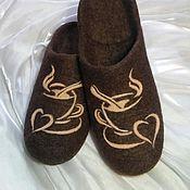 Обувь ручной работы. Ярмарка Мастеров - ручная работа Cappuccino. Валяные тапочки.. Handmade.