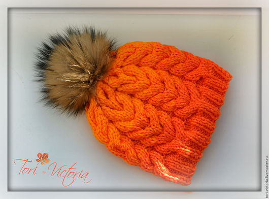 """Шапки ручной работы. Ярмарка Мастеров - ручная работа. Купить шапочка """"Апельсинка"""". Handmade. Оранжевый, меховой помпон, теплая шапка"""