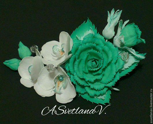"""Свадебные украшения ручной работы. Ярмарка Мастеров - ручная работа. Купить Заколка зажим""""Мятная нежность"""". Handmade. Мятная роза, мятный"""