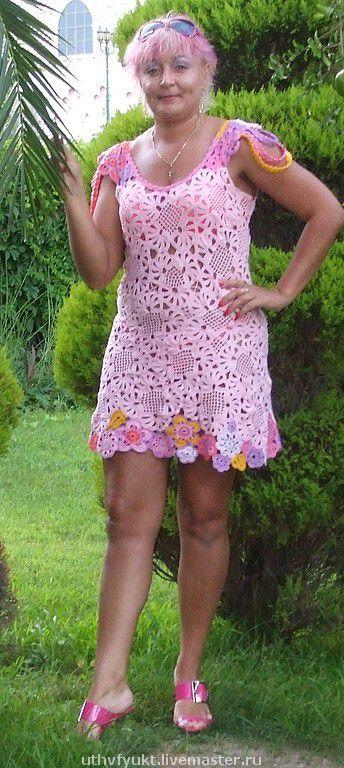 """Платья ручной работы. Ярмарка Мастеров - ручная работа. Купить Платье """"Розовые лепестки"""". Handmade. Комбинированный, 100% хлопок"""