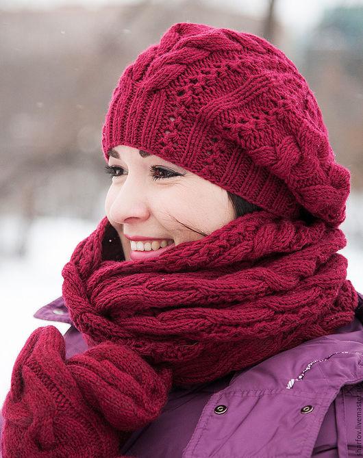 шапка шарф варежки, комплект шапка и шарф, шапка снуд, варежки митенки перчатки.