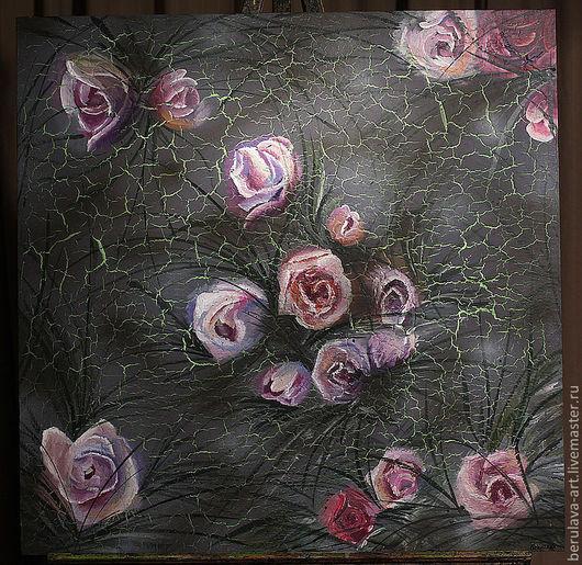 """Картины цветов ручной работы. Ярмарка Мастеров - ручная работа. Купить Картина """"Розы"""". Handmade. Марина Берулава, серый, сиреневый"""